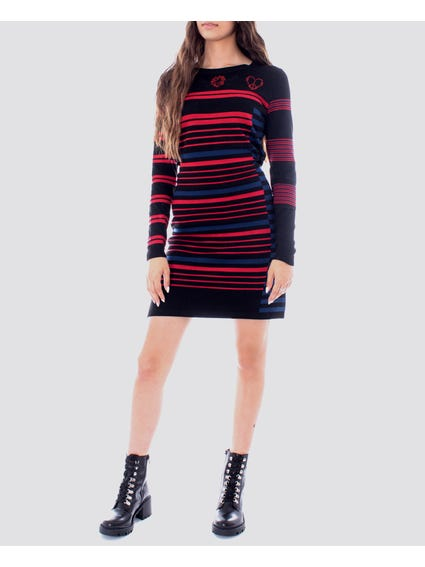 Black Stripes Print Dress