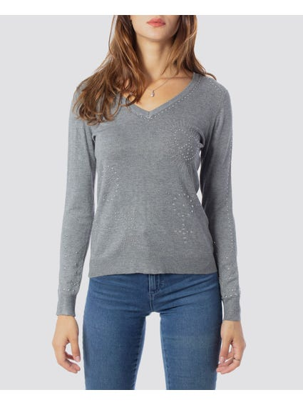 Basic V Neck Long Sleeve Sweatshirt
