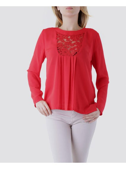 Red Button Back Lace Top