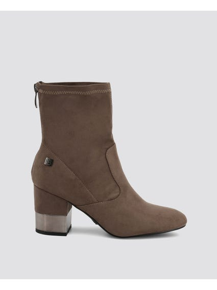 Taupe Zipper Ankle Boots