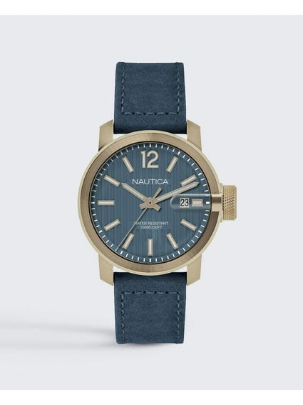 Leather Strap Blue Dial Watch