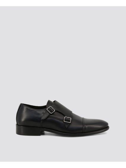 Black Dejavu Buckle Monk Shoes