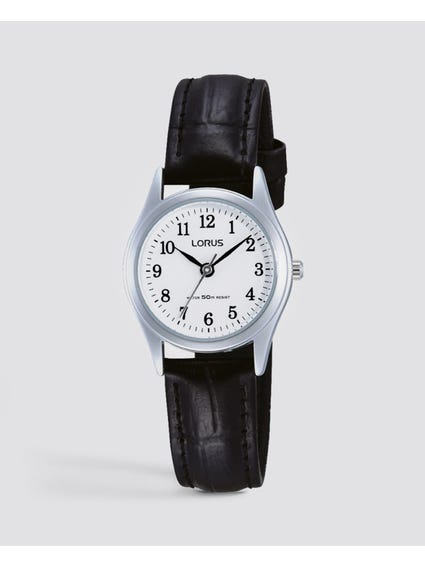 White Dial Quarts Analog Leather Watch