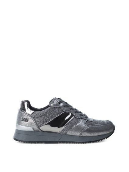 Grey Metallic Patent Lace Up Sneakers