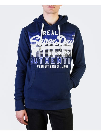 Blue Graphic Print Hooded Sweatshirt