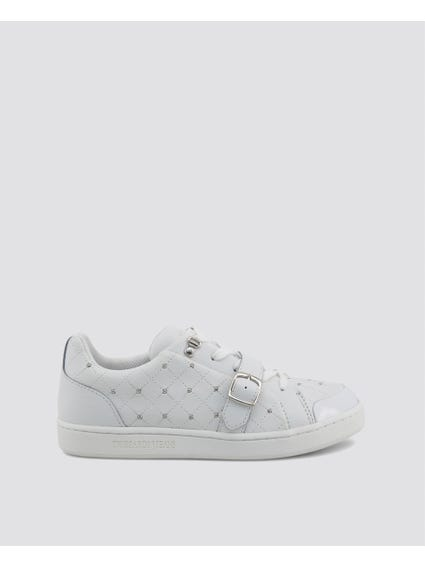 White Buckle Leather Sneakers