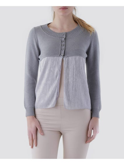 Grey Ribbed Finish Cardigan