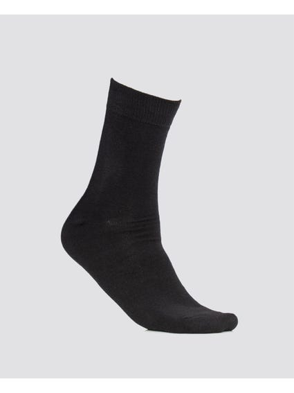 Black Plain Mid Calf Socks