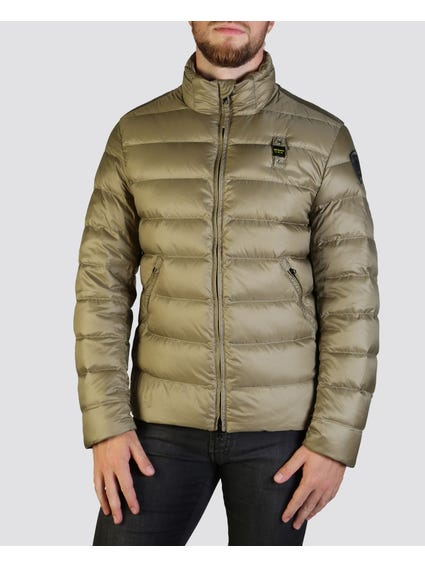 Green Padded High Neck Jacket