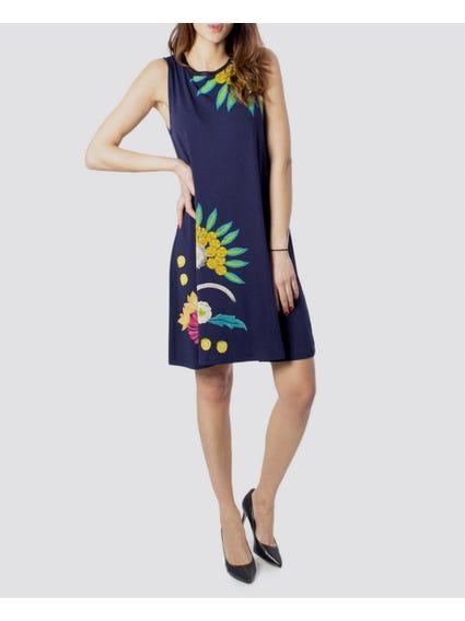 Blue Short Floral Dress