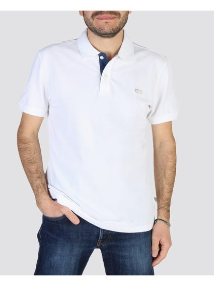 White Solid Short Sleeves Polo