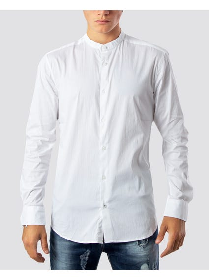White Mandarin Collar Long Sleeves Shirt