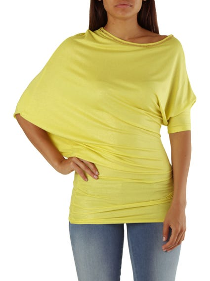 Yellow Wide Neck Knitted Top