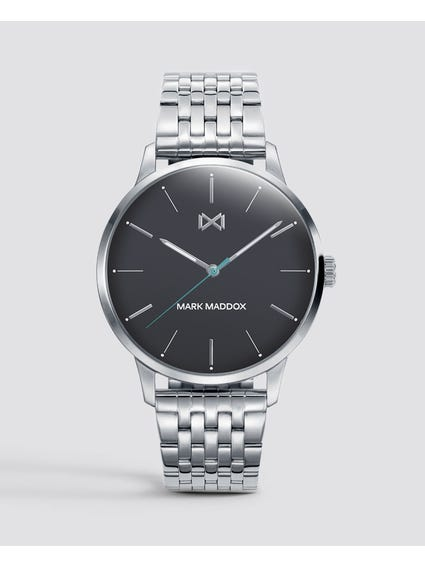 Black Dial Stainless Steel Quartz Watch