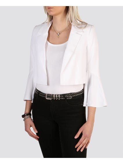 White Lapel Cropped Blazer