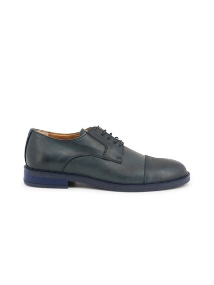 Blue Round Toe Leather Lace Up Shoes