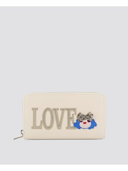 White Love Embellished Wallet