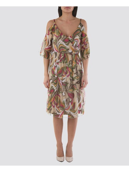 Abstract Print Cold Shoulder Dress
