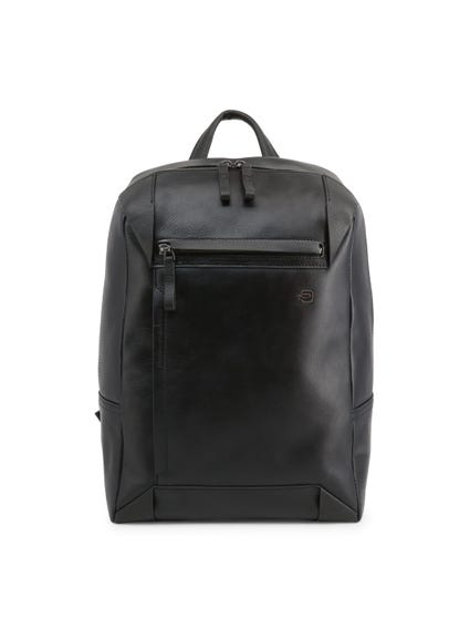 Black Leather Handle Zipper Pocket Backpack