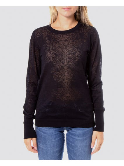 Black Patterned See Through Knitwear