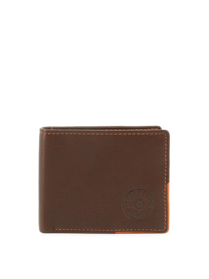 Brown Leather Bi Fold Card Holder Wallet