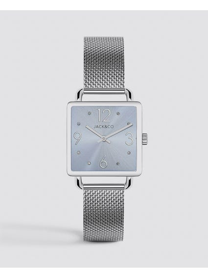 Silver Dial Rectangular Watch