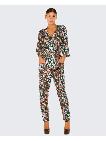 Printed V Neck Jumpsuit