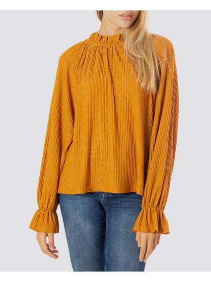 High Neck Bell Sleeve Blouse