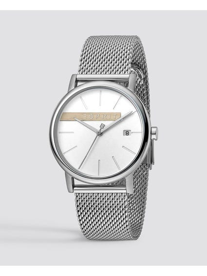 Silver Timber Stainless Steel Watch