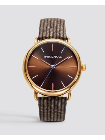 Brown Fabric Strap Silver Dial Watch