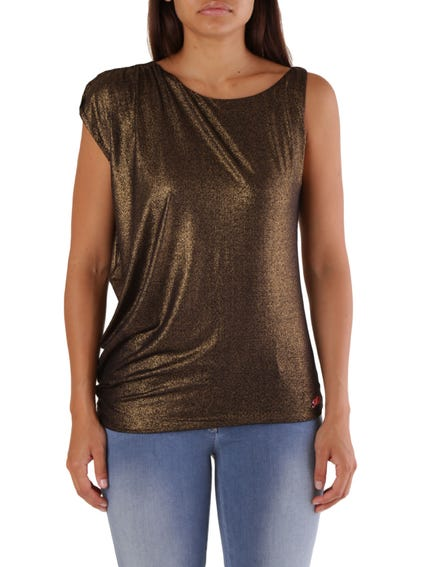 Gold Wide Neck Short Sleeve Top