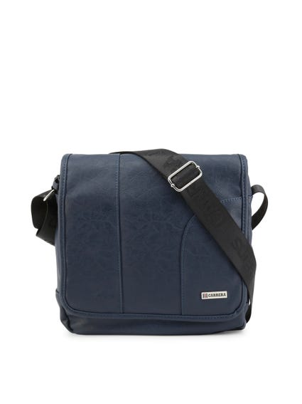 Blue Leather Flap Crossbody Bag