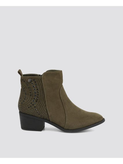 Green Suede Embellished Ankle Boots