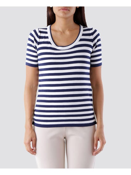 Striped Round Neck Tops