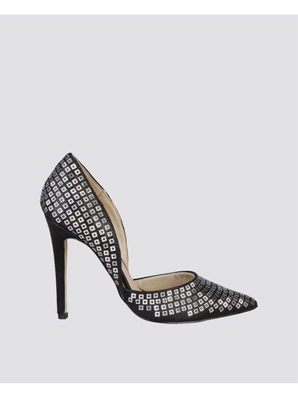 Black Embellished High Heel Pumps