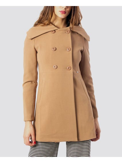 Beige Double Breasted Coats