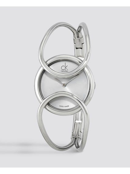 Inclined Silver Dial Bangle Watch