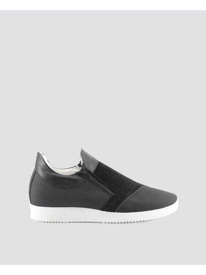 Black Giulio Cleated Sole Slip Ons