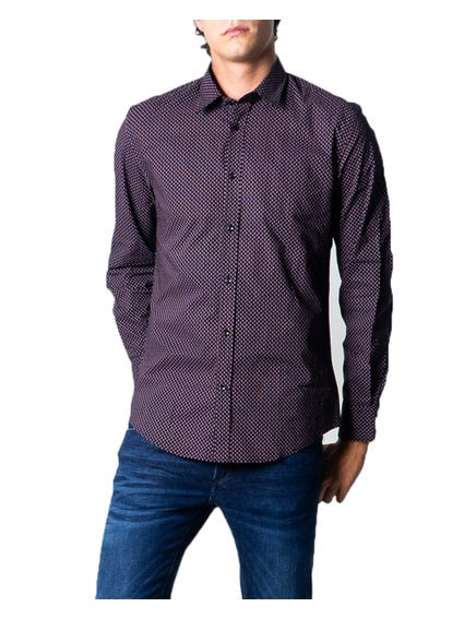Black Collar Long Sleeve Pattern Shirt