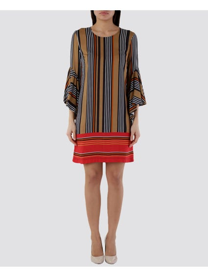 Red Pattern Stripes 3/4 Sleeve Dress