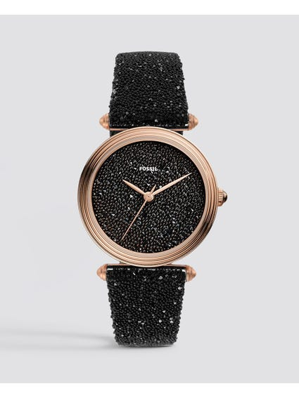 Lyric Three Hand Black Fabric Watch