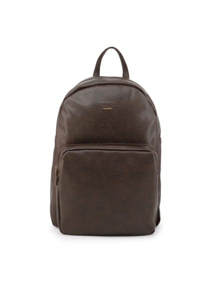 Brown Leather Zipper Pocket Backpack