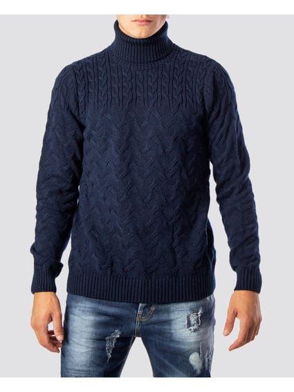 Blue Classic High Neck Knitwear