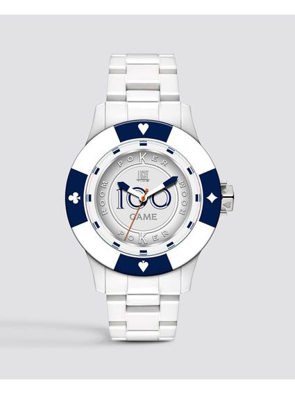 White Poker Quartz Watch