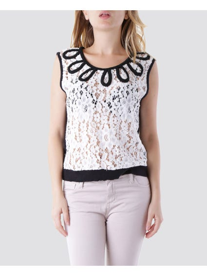 Monochrome Lace Sleeveless Top