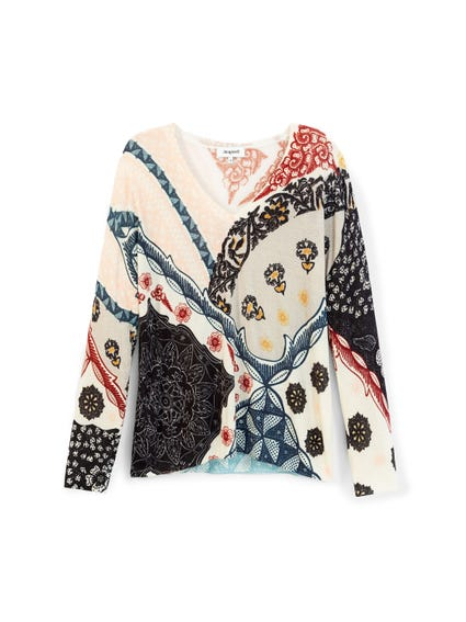 Multi Color Printed V Neck Blouse