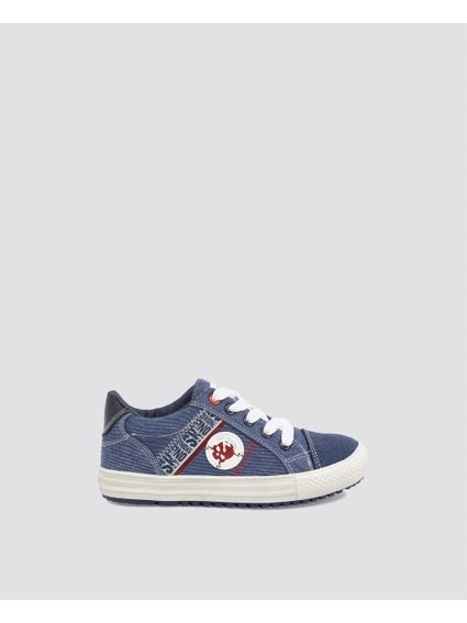 Blue Patch Kid Sneakers