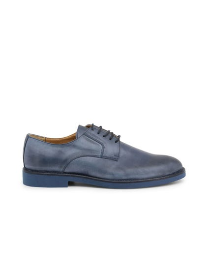 Blue Leather Cerato Lace Up Shoes