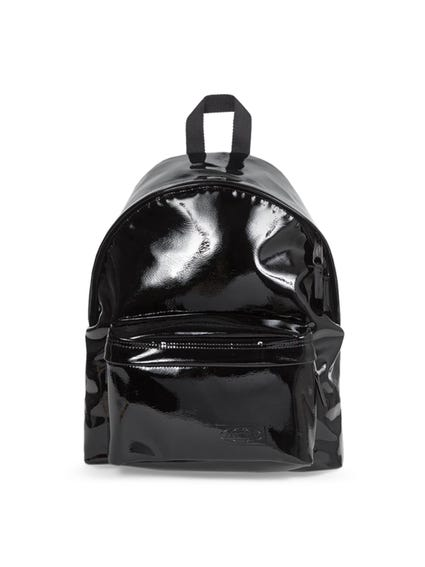 Black Patent Padded Backpack