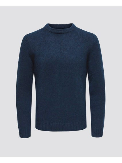 Blue High Neck Knit Sweater